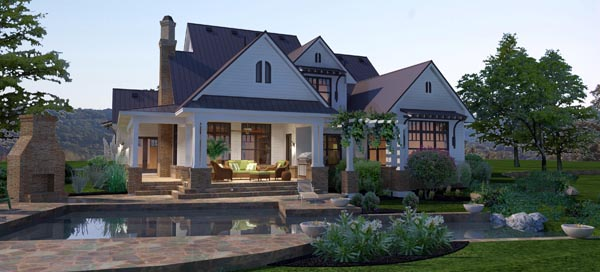 Country, Farmhouse, Traditional House Plan 65879 with 3 Beds, 3 Baths, 3 Car Garage Rear Elevation