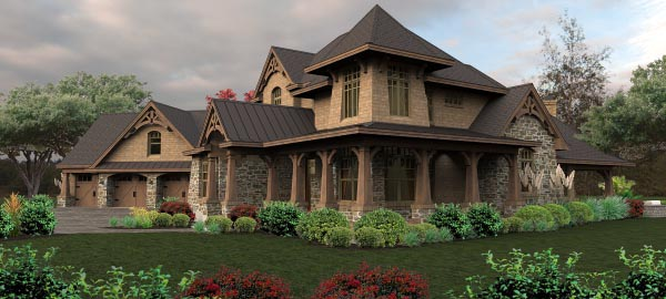 Craftsman, Tuscan House Plan 65880 with 4 Beds, 4 Baths, 3 Car Garage Picture 1