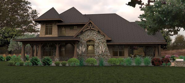 Craftsman, Tuscan House Plan 65880 with 4 Beds, 4 Baths, 3 Car Garage Picture 2