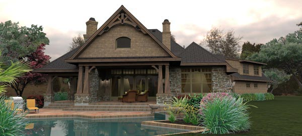 Craftsman, Tuscan House Plan 65880 with 4 Beds, 4 Baths, 3 Car Garage Rear Elevation