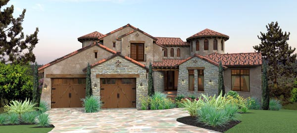 Italian, Mediterranean, Tuscan House Plan 65881 with 4 Beds, 5 Baths, 2 Car Garage Elevation