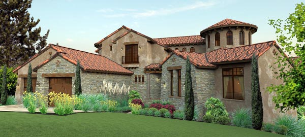 Italian, Mediterranean, Tuscan House Plan 65881 with 4 Beds, 5 Baths, 2 Car Garage Picture 1