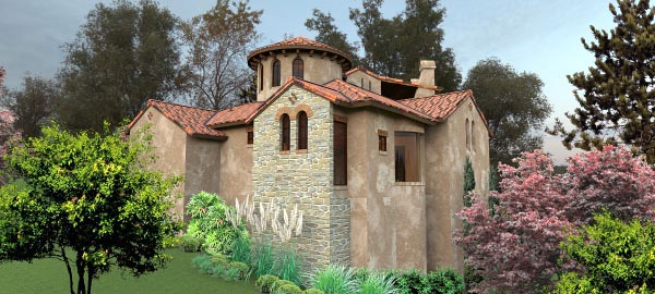 Italian, Mediterranean, Tuscan House Plan 65881 with 4 Beds, 5 Baths, 2 Car Garage Picture 2