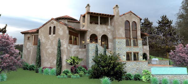 Italian, Mediterranean, Tuscan House Plan 65881 with 4 Beds, 5 Baths, 2 Car Garage Picture 3