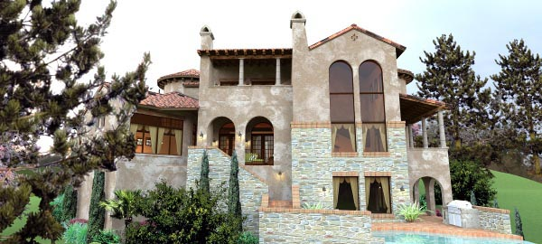 Italian, Mediterranean, Tuscan House Plan 65881 with 4 Beds, 5 Baths, 2 Car Garage Rear Elevation