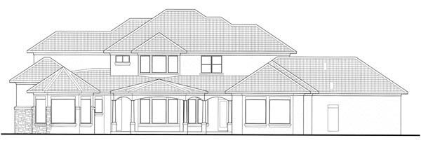 Mediterranean House Plan 65885 with 6 Beds, 7 Baths, 2 Car Garage Rear Elevation