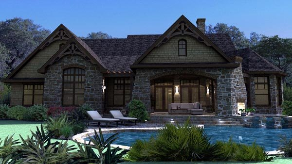 Craftsman, Tuscan House Plan 65888 with 3 Beds, 3 Baths, 2 Car Garage Rear Elevation