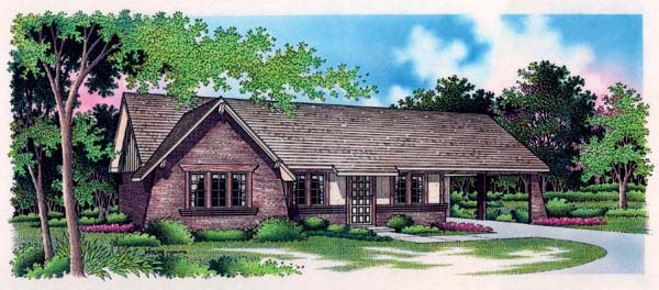 One-Story, Tudor House Plan 65915 with 3 Beds, 1 Car Garage Elevation