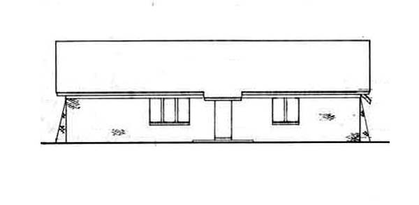 One-Story, Tudor House Plan 65915 with 3 Beds, 1 Car Garage Rear Elevation