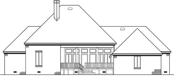 House Plan 65946 with 4 Beds, 4 Baths, 2 Car Garage Rear Elevation