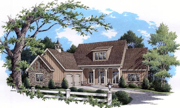 Cottage, Country, Farmhouse, Ranch, Southern, Traditional House Plan 65965 with 3 Beds, 3 Baths, 2 Car Garage Elevation