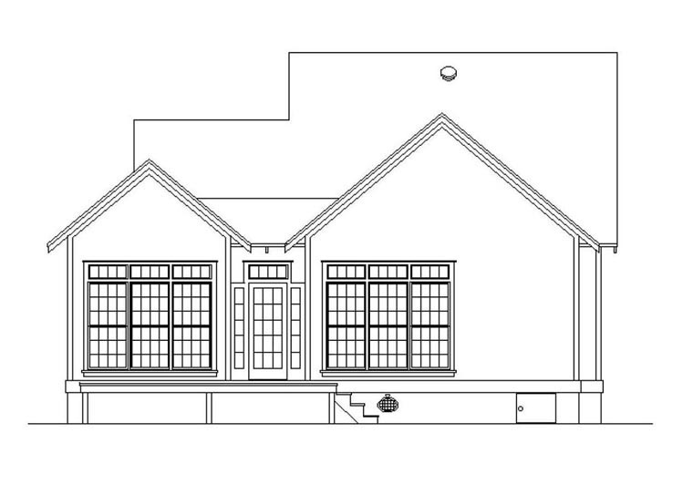 House Plan 65976 with 3 Beds, 3 Baths Rear Elevation