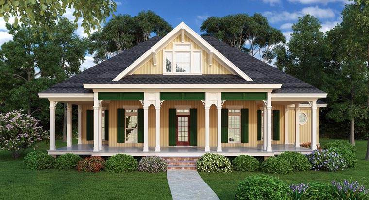 Cottage, Southern House Plan 65988 with 3 Beds, 3 Baths Elevation