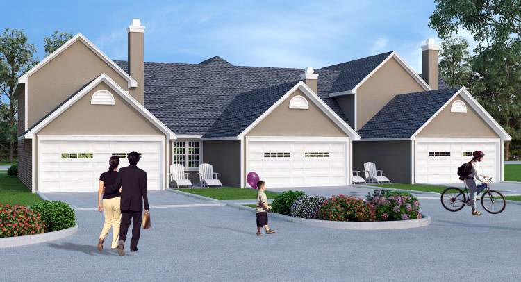 Multi-Family Plan 65997 with 4 Beds, 6 Baths, 4 Car Garage Rear Elevation
