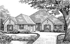 One-Story, Traditional House Plan 66001 with 4 Beds, 3 Baths, 3 Car Garage Elevation