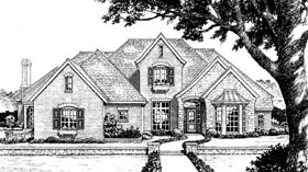 European, French Country, Tudor House Plan 66005 with 4 Beds, 4 Baths, 3 Car Garage Elevation