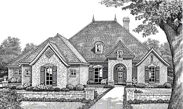 Traditional House Plan 66016 with 4 Beds, 4 Baths, 3 Car Garage Front Elevation