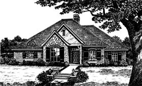 European, One-Story House Plan 66022 with 4 Beds, 3 Baths, 2 Car Garage Elevation