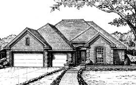 European, One-Story, Traditional House Plan 66047 with 4 Beds, 3 Baths, 3 Car Garage Elevation