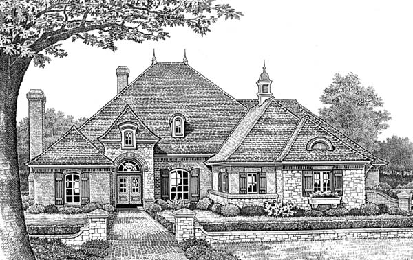 European, One-Story, Traditional House Plan 66052 with 4 Beds, 4 Baths, 3 Car Garage Front Elevation