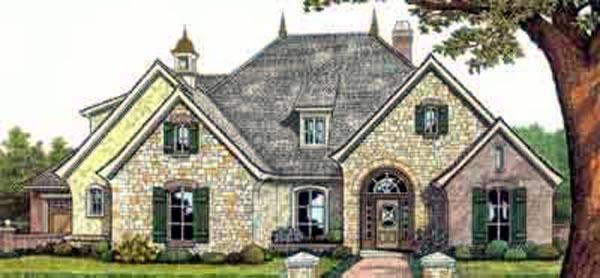 European, One-Story, Tudor House Plan 66074 with 4 Beds, 3 Baths, 3 Car Garage Elevation