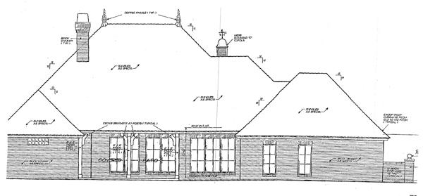European, One-Story, Tudor House Plan 66074 with 4 Beds, 3 Baths, 3 Car Garage Rear Elevation