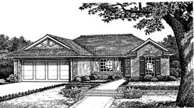 One-Story, Traditional, Tudor House Plan 66079 with 3 Beds, 2 Baths, 2 Car Garage Elevation