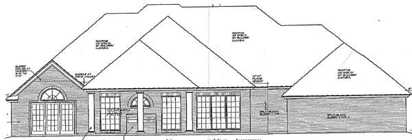 European, One-Story, Traditional House Plan 66091 with 3 Beds, 3 Baths, 2 Car Garage Rear Elevation