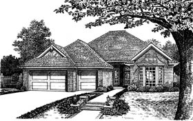 One-Story, Traditional House Plan 66103 with 4 Beds, 3 Baths, 3 Car Garage Front Elevation