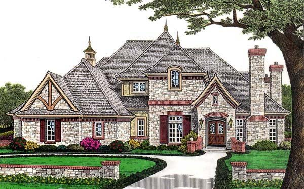 European, French Country House Plan 66110 with 5 Beds, 6 Baths, 3 Car Garage Elevation