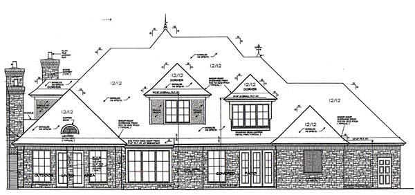 European, French Country House Plan 66110 with 5 Beds, 6 Baths, 3 Car Garage Rear Elevation