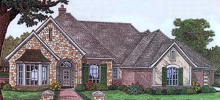 One-Story, Traditional House Plan 66111 with 4 Beds, 4 Baths, 2 Car Garage Front Elevation