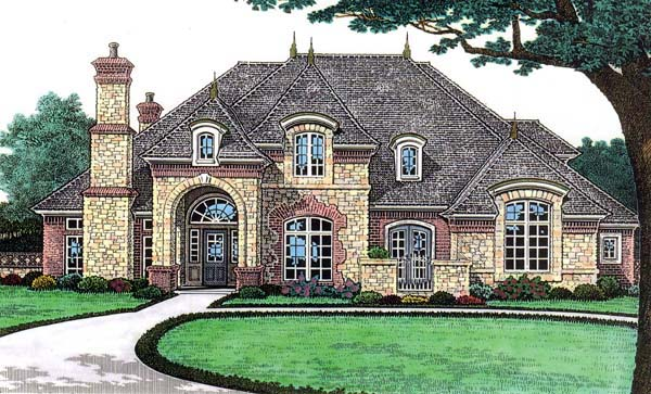 European, French Country House Plan 66117 with 4 Beds, 5 Baths, 3 Car Garage Elevation