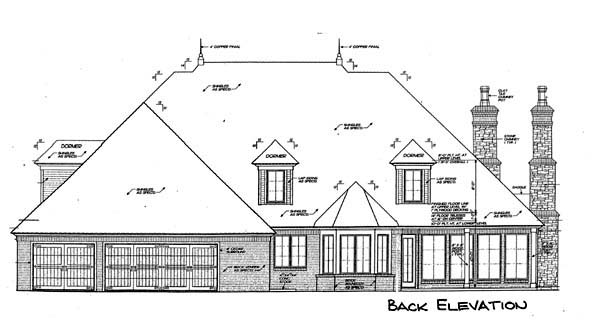 European, French Country House Plan 66117 with 4 Beds, 5 Baths, 3 Car Garage Rear Elevation