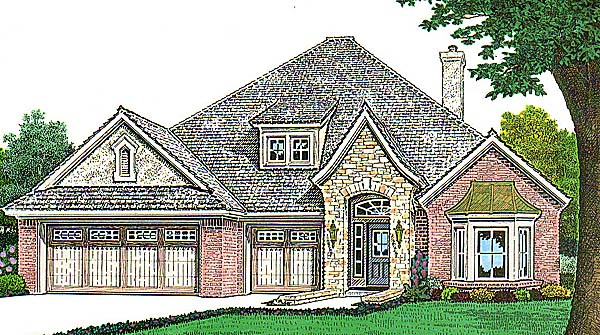 Narrow Lot, One-Story House Plan 66140 with 4 Beds, 2 Baths, 3 Car Garage Elevation