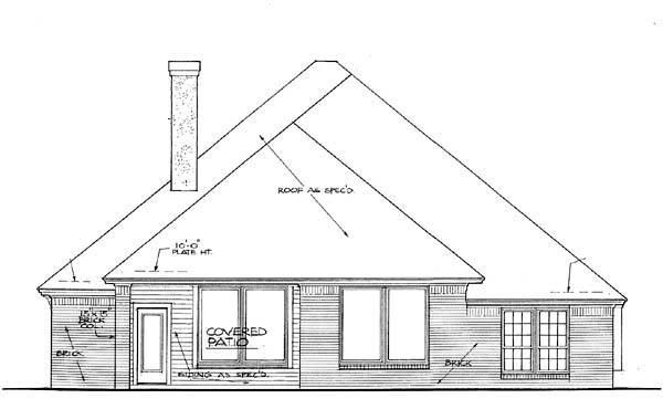 Narrow Lot, One-Story House Plan 66140 with 4 Beds, 2 Baths, 3 Car Garage Rear Elevation