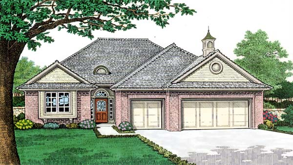 One-Story House Plan 66154 with 3 Beds, 2 Baths, 3 Car Garage Elevation