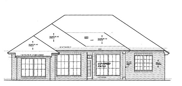 One-Story House Plan 66154 with 3 Beds, 2 Baths, 3 Car Garage Rear Elevation