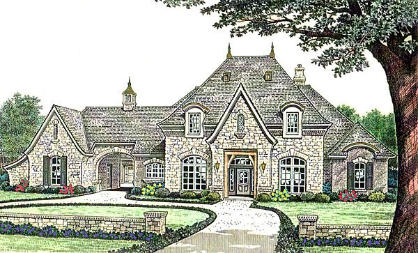 Country, French Country, Southern House Plan 66237 with 3 Beds, 4 Baths, 3 Car Garage Front Elevation