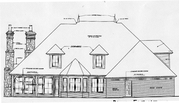 Country, French Country, Southern House Plan 66238 with 4 Beds, 5 Baths, 3 Car Garage Rear Elevation