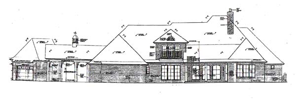 European, French Country House Plan 66248 with 4 Beds, 5 Baths, 4 Car Garage Rear Elevation