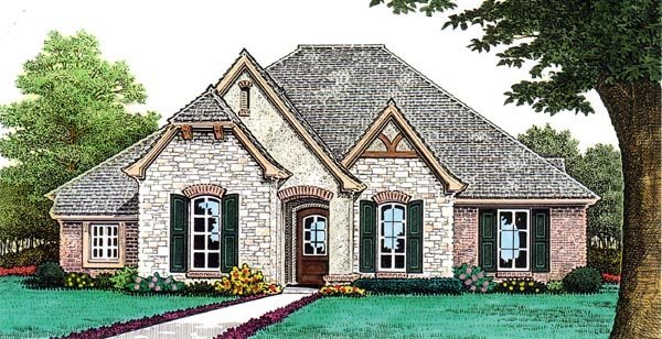 Country, European House Plan 66259 with 3 Beds, 3 Baths, 3 Car Garage Elevation