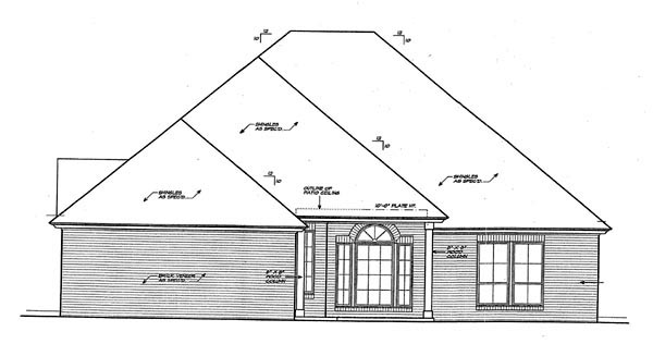 Country, European House Plan 66259 with 3 Beds, 3 Baths, 3 Car Garage Rear Elevation