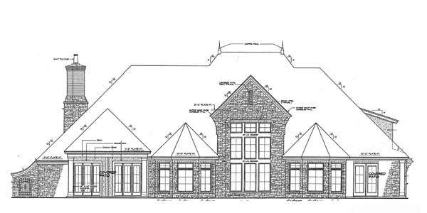 European, French Country House Plan 66267 with 4 Beds, 4 Baths, 3 Car Garage Rear Elevation