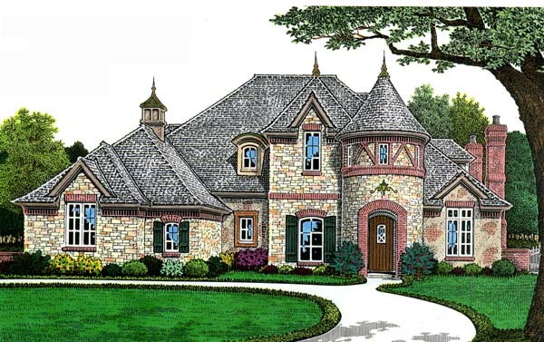European, French Country House Plan 66268 with 4 Beds, 4 Baths, 3 Car Garage Elevation