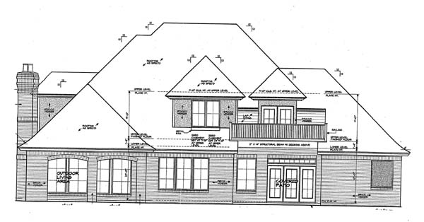 European, French Country House Plan 66268 with 4 Beds, 4 Baths, 3 Car Garage Rear Elevation