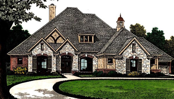 Country, European, French Country House Plan 66286 with 4 Beds, 4 Baths, 3 Car Garage Elevation