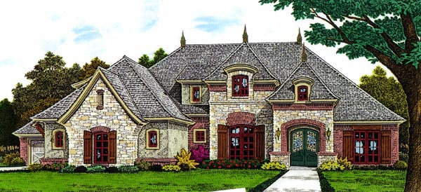 Country, European, French Country House Plan 66291 with 4 Beds, 3 Baths, 3 Car Garage Front Elevation