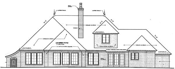 Country, European, French Country House Plan 66291 with 4 Beds, 3 Baths, 3 Car Garage Rear Elevation