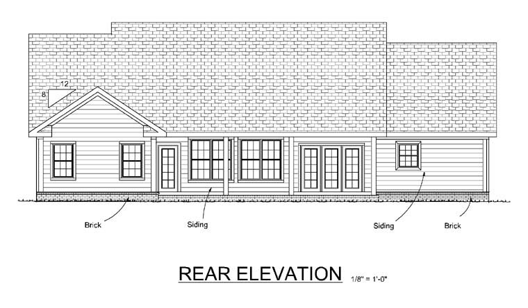 Traditional House Plan 66447 with 3 Beds, 2 Baths, 3 Car Garage Rear Elevation